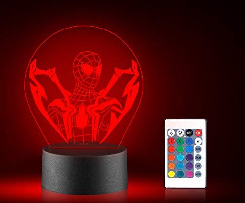 Xpassion Super Spider Man Hero - Luces LED de noche 3D, 16 colores que cambian automáticamente la ilusión de la lámpara de mesa con control remoto para niños, Navidad, Halloween, cumpleaños