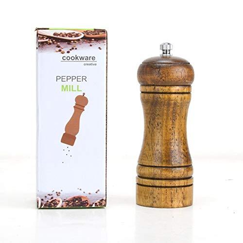 LMFLY Pepper Salz und Pfeffer Mühle Multifunktion Hölzern Pfeffermühle Küchenhelfer Handbuch Gewürzmühle Geeignet für Hause, Hotel, Restaurants (Size : 5inch)