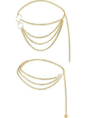 Chuangdi 2 Stücke Damen Trendy Multi Layer Metal Link Taille Kette Gürtel (Stil A)