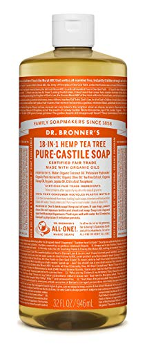 Dr. Bronner's - Pure-Castile Liquid Soap (Tea Tree, 32 Fl Oz (Pack of 1)