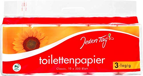 Jeden Tag Toilettenpapier 3-lagig, 10x200 Blatt