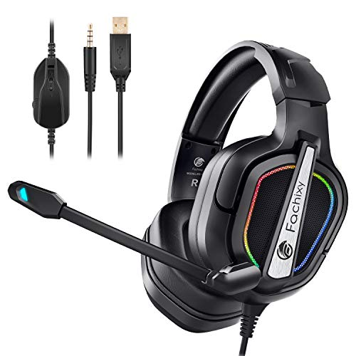 Fachixy Casque Gaming Xbox One, Professionnel Casque Gamer PS4 Filaire RGB Audio Stéréo Basse Anti-Bruit Microphone Réglable Avec 3.5mm Jack Compatible PS5,PC, Switch, Xbox One, Laptop,Tablette(Negro)