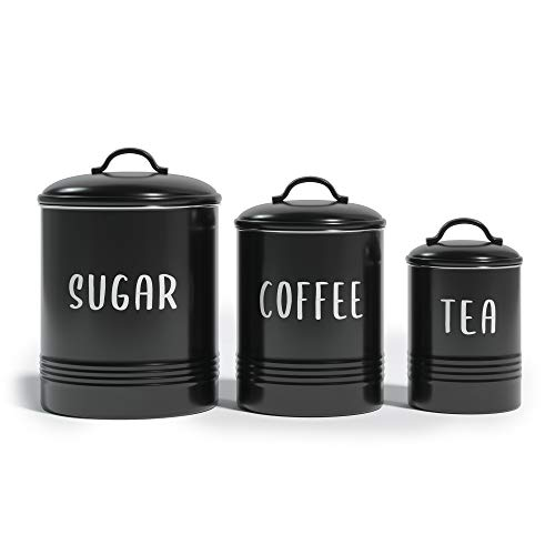 """Barnyard Designs Set of 3 Decorative Nesting Kitchen Canisters, Airtight Containers with Lid, Rustic Farmhouse Sugar, Coffee, and Tea Storage for Kitchen Counter, Black, Largest Measures 6.25"""" x 7"""""""