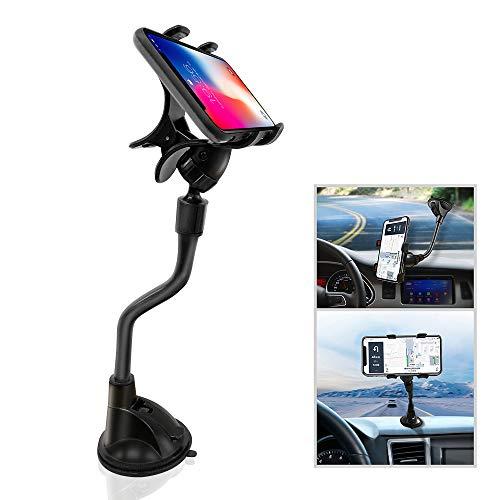 ipow Support Téléphone Voiture Ventouse Forte à Double Clips avec Bras Flexible,Porte Auto à Pince Fixation sur Pare-Brise/Tableau de Bord pour GPS/Phone Universel Compatible avec iPhone X/8/7 Plus/6s