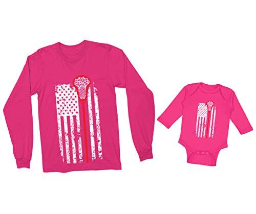 Lacrosse Stick American Flag Long Sleeve Bodysuit (12 Months, Pink)