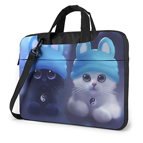 Laptop Bag Cute Black and White Cats Laptop Shoulder Messenger Bag 15.6 Inch Waterproof Notebook Computer Sleeve Carrying Case Briefcase