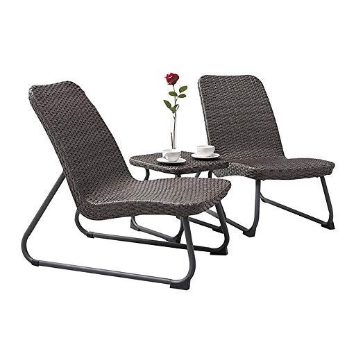 ZHFC Rattan Outdoor - Juego de mesa y sillas, 3 piezas, de mimbre y sillas, juego de mesa y silla, para terraza y bistro, 2 mecedoras y mesa auxiliar de café
