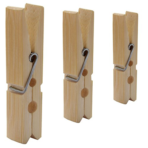 LeTOMA - 24 Holzklammern aus Bambus 6 cm - Premium Bambus-Klammern ideal zum Basteln, Beschriften, Verzieren, Adventskalender