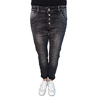 Karostar Stretch Baggy Boyfriend Jeans Nieten Seitenstreifen Washed Black