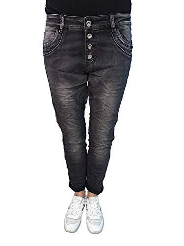 Karostar Stretch Baggy Boyfriend Jeans Nieten Seitenstreifen Washed Black XL-42