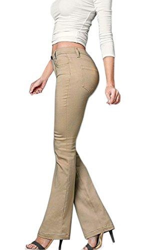 Hybrid & Company Women's Skinny Bootcut Stretch Pant P31699BLX Beige/Khak 14