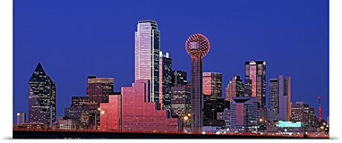 GREATBIGCANVAS Entitled Texas, Dallas, Panoramic View of an Urban Skyline at Night Poster Print, 60