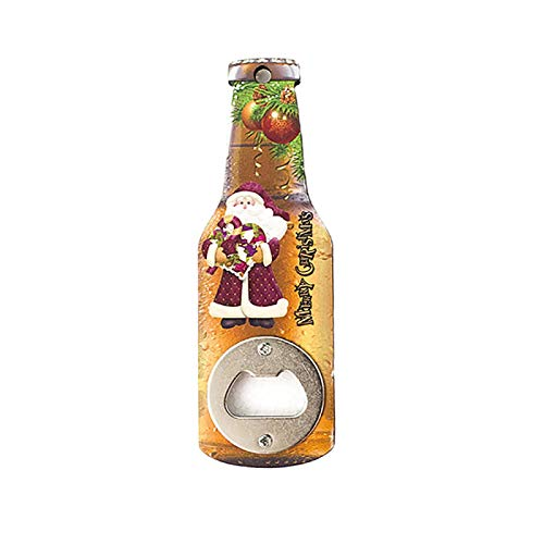 letaowl Abridor de botellas Serie de Navidad creativa abridor de botellas de madera impresión abrebotellas de cerveza nevera pegatinas magnéticas A