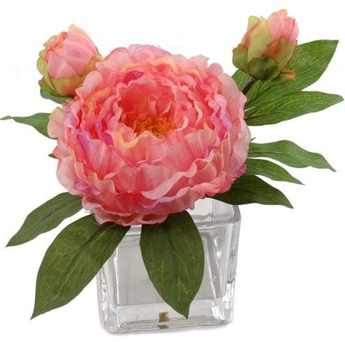 手工制作的人造丝牡丹插花花瓶|真面目粉红色的丝绸多年生牡丹|花瓣层组合淡紫色,粉红色,桃花瓣的Hues公司一个美丽,自然的外观