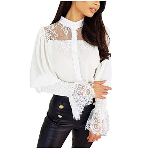 Women Casual Solid Shirt Long Sleeve Stand Collar Flower Lace Daily Blouse Tops