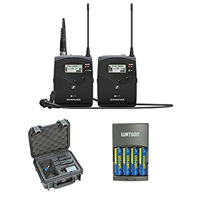 Sennheiser ew 112P G4 Camera-Mount Wireless Microphone System with ME 2-II Lavalier Mic plus SKB iSeries Waterproof System Case and 4-Hour Rapid Charger (4 AA Batteries) from Sennheiser