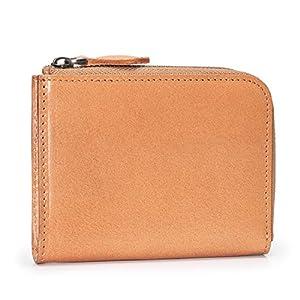 (ポヨリー) POYOLEE 財布 メンズ L字ファスナー財布 小さい 本革 小銭入れ レディース コンパクト財布 二つ折り コインケース ナチュラル