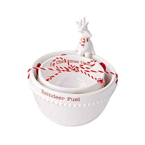 Mud Pie Christmas Nested Dip Bowl Set, Small 2' x 3 1/2' Dia | Large 2 3/4' x 4 1/2' Dia, Reindeer