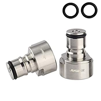 Jansamn Keg Coupler Stainless Steel Ball Lock Posts 5/8 NPT Thread Sanke Adapter Quick Disconnect Conversion Kit For Homebrewing Silver