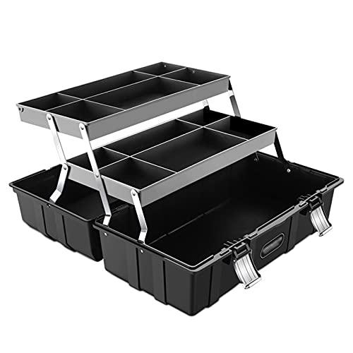 Caja de Herramientas Caja de herramientas de maleta Caja profesional de 3 capas Caja de herramientas plegable caja de herramientas Reparación de hardware Garaje Material de plástico Material de plásti