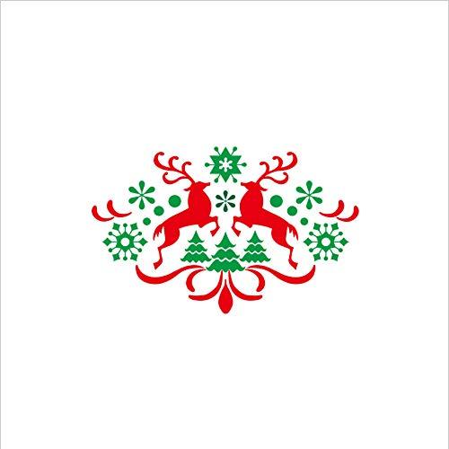 Pegatinas De Pared Navidad Copo De Nieve Cervatillo Pegatinas De Ventana De Vidrio Murales Sala De Estar Cocina Tv Fondo Vinilo Decoración De Fiesta Extraíble 80X50Cm