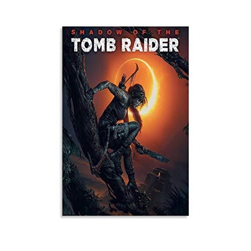 """Poster su tela con copertina per PC con motivo """"Shadow of the Tomb Raider"""" e stampa artistica da parete, 60 x 90 cm"""
