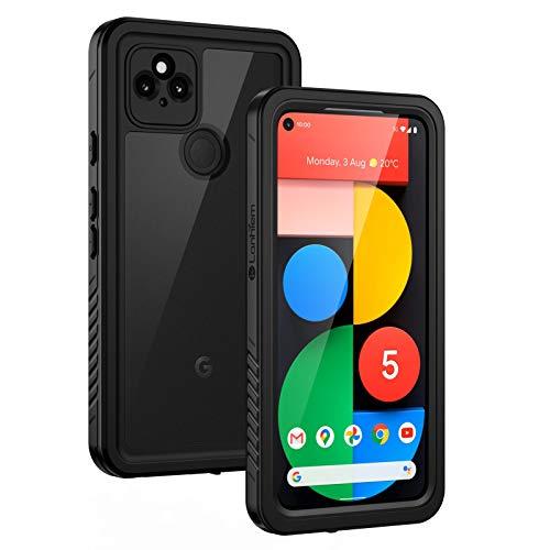 Lanhiem für Google Pixel 5 Hülle, IP68 Wasserdicht Handyhülle Pixel 5 360 Grad Schutzhülle, Stoßfest Staubdicht Schneefest Outdoor Panzerhülle mit Eingebautem Bildschirmschutz, Schwarz