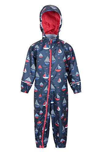 Mountain Warehouse Puddle bedruckter Kinder-Regenanzug - wasserdichte Regenjacke, atmungsaktiv, versiegelte Nähte, Sommeranzug, hohe Sichtbarkeit - zum Reisen Marineblau 18-24 Monate
