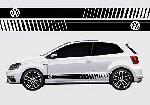 Unbekannt Vinyl-Seitenstreifen-Abziehbilde Aufkleber für VW Polo Produkt 2 (Schwarz)