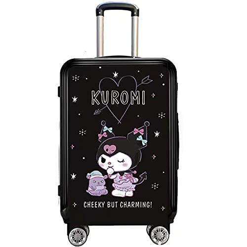 Cinnamoroll Suitcase Estudiante Kuromi Maleta y Melody Malding Cabina de 20 Pulgadas Pom Pom Purin Caja giratoria (Color : Kuromi, Size : 24 Inches)