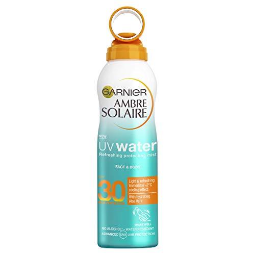 Garnier Ambre Solaire UV Water Clear Sun Cream Mist SPF30, Refreshing and Cooling Aloe Vera High Sun Protection Spray SPF30 200 ml