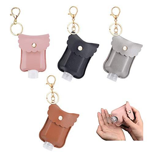 XUANCAOMAO 4 Sets/Set 30ML Leather Travel Bottle Keychain Holder Set,Portable Empty Leakproof Plastic Squeeze Bottles,Clear Refillable Hand Sanitizer Bottle Clips for Soap,Lotion(4 colors)