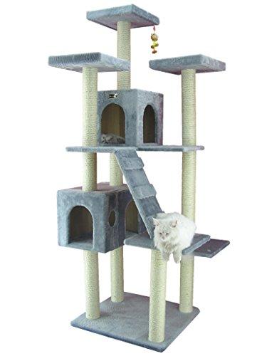 Armarkat Megagroßer Kratzbaum AC7701S 2 Meter hoch mit 2 großen Katzenhäusern in Grau