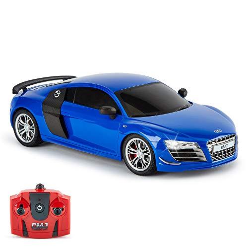 CMJ RC Cars Audi R8 GT R/C Coche Teledirigido con Control Remoto en Escala 1:18 Luces de Trabajo 2.4 GHz (Azul 1:18)