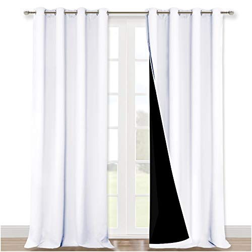 NICETOWN White 100% Blackout Curtains for Windows, Super Heavy-Duty Black Lined Total Darkness Drapes for Bedroom, Privacy Assured Window Treatment for Patio (Pack of 2, 52 inches W x 108 inches L)