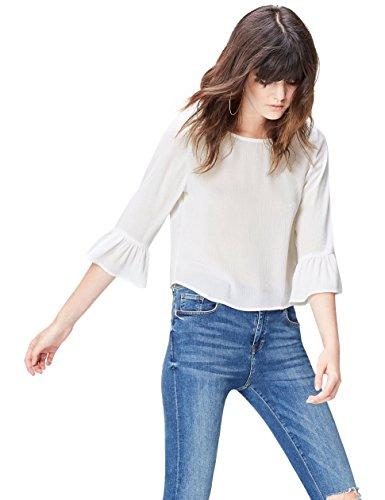 Amazon-Marke: find. Bluse Damen kastenförmige Silhouette und Rüschen, Elfenbein (Ivory), 38, Label: M