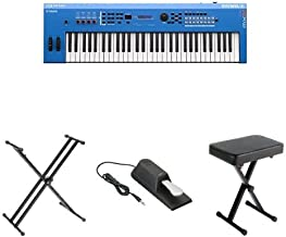 Yamaha MX61 Music Production Synthesizer, Blue, with Stand, Pedal, and Bench