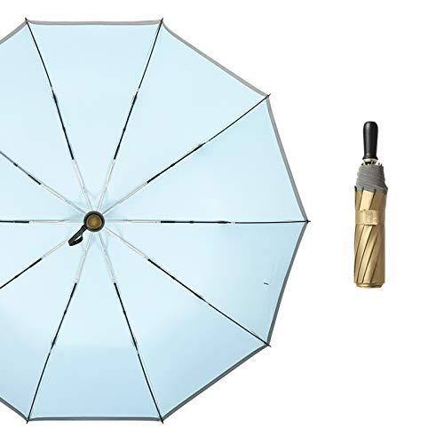 Y-POWER Paraguas de bolsillo de 10 costillas anti UV sol lluvia a prueba de viento plegable paraguas con rayas reflectantes para mujeres hombres niños UPF50+