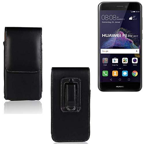 K-S-Trade Funda para Huawei P8 Lite 2017 Dual SIM, La Bolsa De Cinturón De Cuero De Imitación Color Negro | Elegancia Funcional Simple Llano. Teléfono Móvil Funda Caso Bolso Cruzado