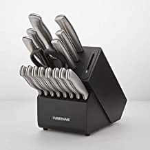Farberware Edgekeeper 16-Piece Stainless Steel Block Set with Built in Knife Sharpener, Black