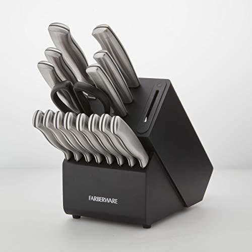 Farberware 5253519 Edgekeeper 16Piece Stainless Steel Block Set with Built in Knife Sharpener Black