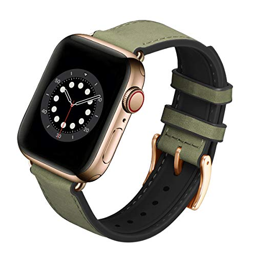 FENGLIN Armband Kompatibel mit Apple Watch Armband 38mm 40mm, Leder Weiches Silikon Hybrid Wasserdichtes Sportarmband Ersatzarmband für iwatch Serie 6/5/4/3/2/1, SE (38mm 40mm,Olivgrün/Gold)