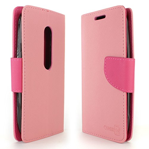 Moto G 3rd Gen Case, CoverON [Carryall Series] Flip Folio Card Slot Pouch Cover LCD + Strap + Stand Wallet Case for Motorola Moto G 3rd Generation 2015 - Light Pink & Hot Pink