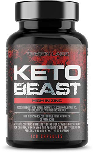 Keto Beast - Pills for The Keto Diet - High Strength in Zinc for Fatty Acid Metabolism - Safe & Legal Formula, Made in The UK - 120 Vegetarian Capsules