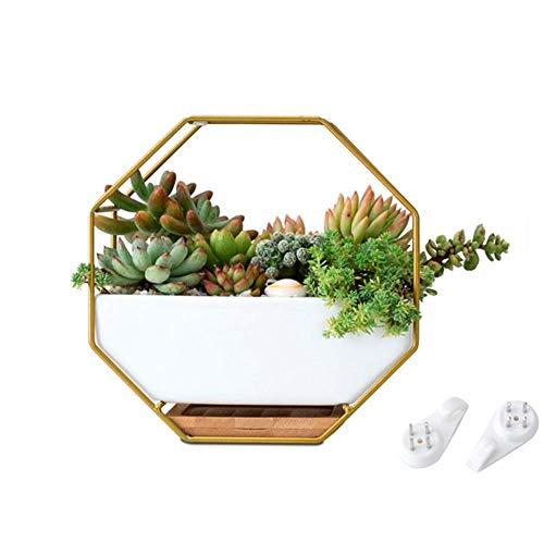 Abilieauty Metall Eisen Gestell Weiß Keramik Pflanzengefäß Topf Einfach Achteckig Geometrisch Wandbehang Keramik Blumentopf
