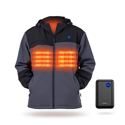 IUREK Giacca Riscaldato, ZD962 Giacca Uomo con 10000mAh Powerbank, 3 Temperatura Regolabile, 3 Zone Riscaldanti, Impermeabile e Lavabile, Giacca Riscaldato per Outdoor, Taglia XL
