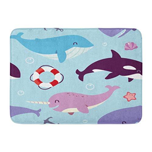 Fußmatten Bad Teppiche Outdoor/Indoor Fußmatte Anker Blauwal Sperma Narwal und Killertier Aquarium Birne Badezimmer Dekor Teppich Badematte