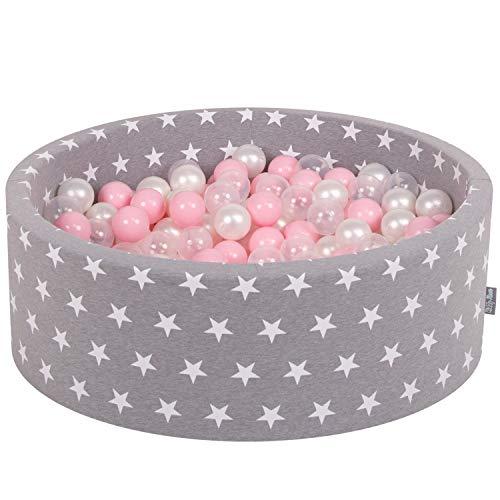 KiddyMoon Bällebad 90X30cm/200 Bälle ∅ 7Cm Bällepool Mit Bunten Bällen Für Mädchen Babys Kinder Rund, Grausterne: Rosa/Perle/Transparent