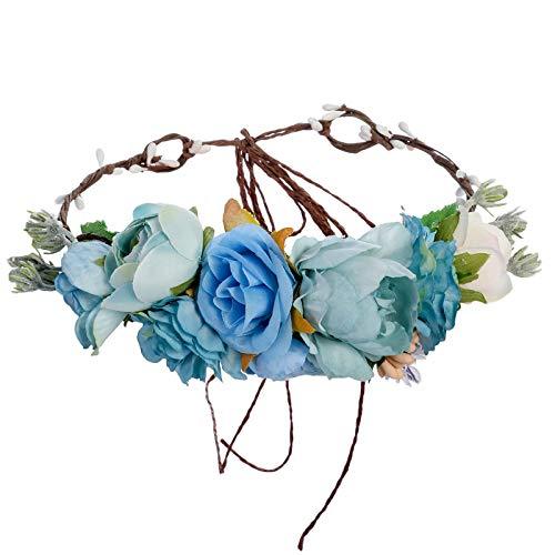Blumenkrone Blumen Stirnband Hochzeit Haarkranz - Handgefertigt Bohemien Einstellbar Blumenstirnband Band Frauen Mädchen Festival Kopfschmuck Hochzeitsgesellschaft Haarschmuck (Himmelblau/Tiffanyblau)