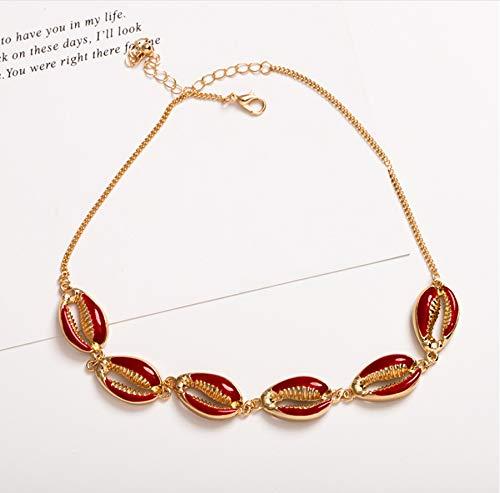 zwyluck Choker, halsketting, choker, schelp, rood, zwart, met modieuze ketting voor zomer, cadeau